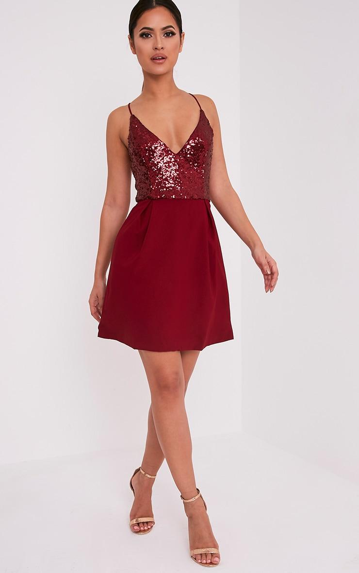 Lidia Wine Sequin Crepe Skater Dress 5