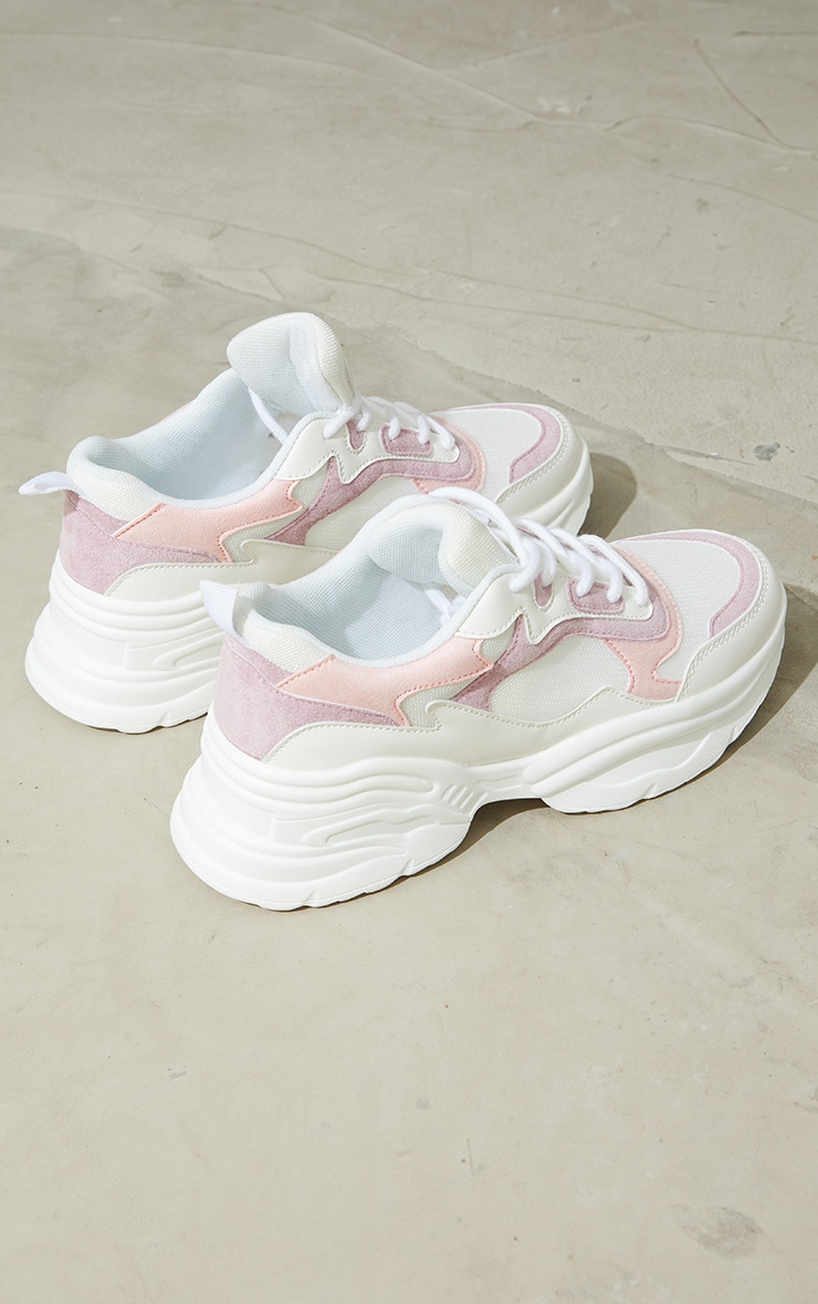 Pink PU Contrast Chunky Ridged Sole Sneakers 4