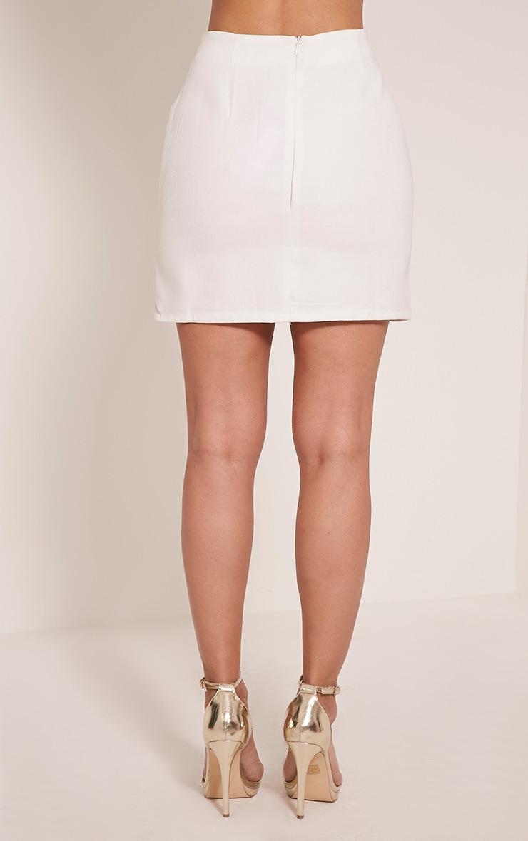 Bette White Button Detail Mini Skirt 10