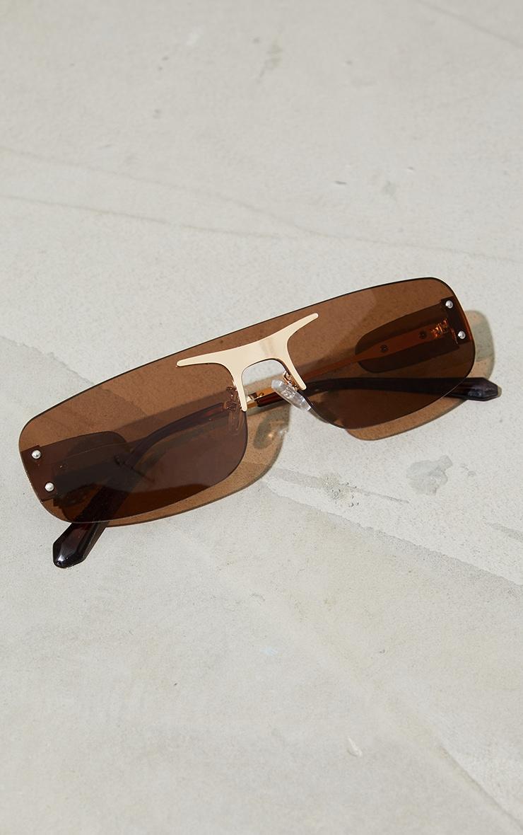 Brown Frameless Squareframe Gold Trim Sunglasses 3