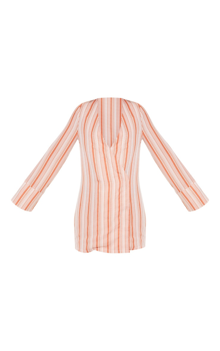 Petite Rust  Striped Plunge Flare Sleeve Blazer Dress 3