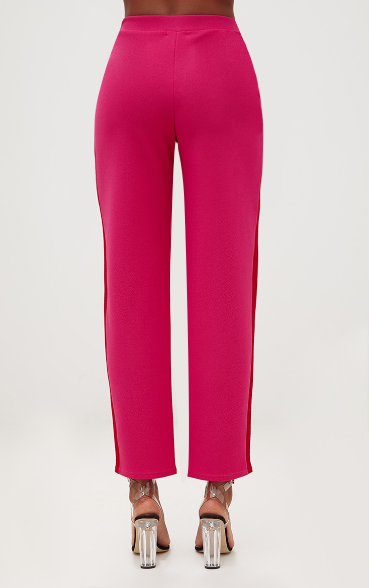 Hot Pink Contrast Stripe Straight Leg Trouser 4