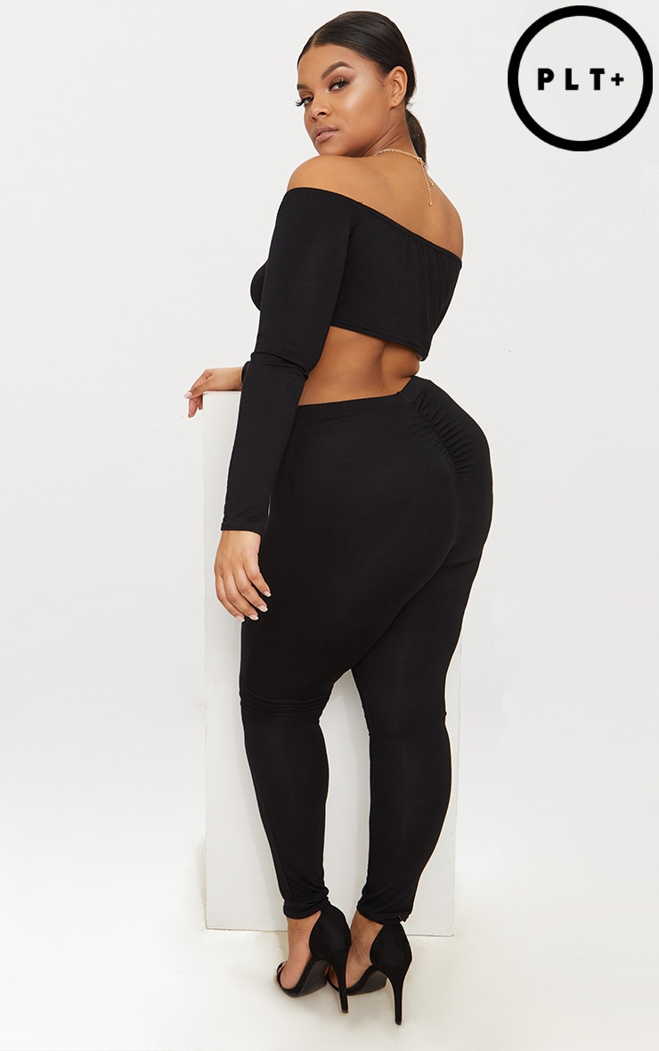 Plus Black Ruched Detail Leggings 1