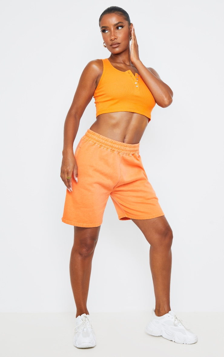 Bright Orange Washed Sweat Runner Shorts 1