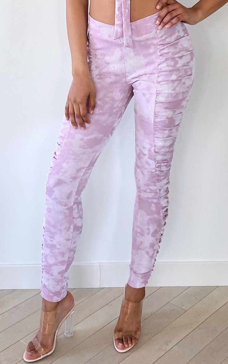 Tall Mauve Tie Dye Ruched Front Seam Leggings 4