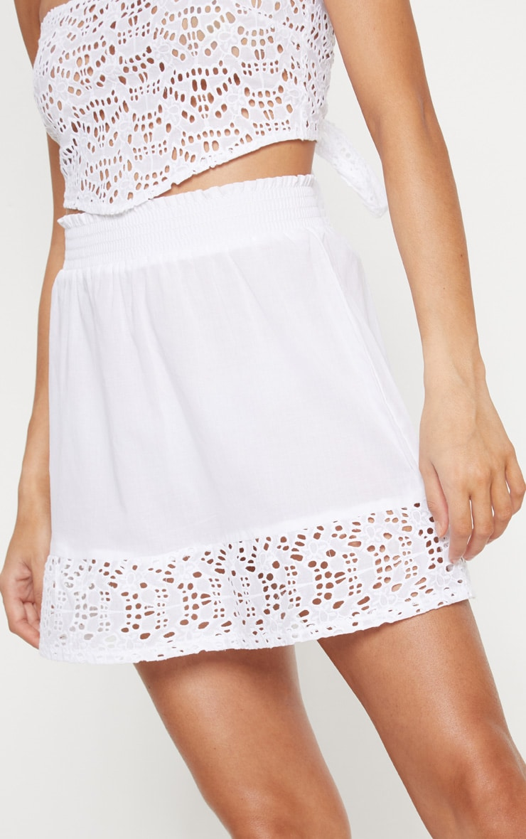 White Broderie Frill Hem Mini Skirt 6
