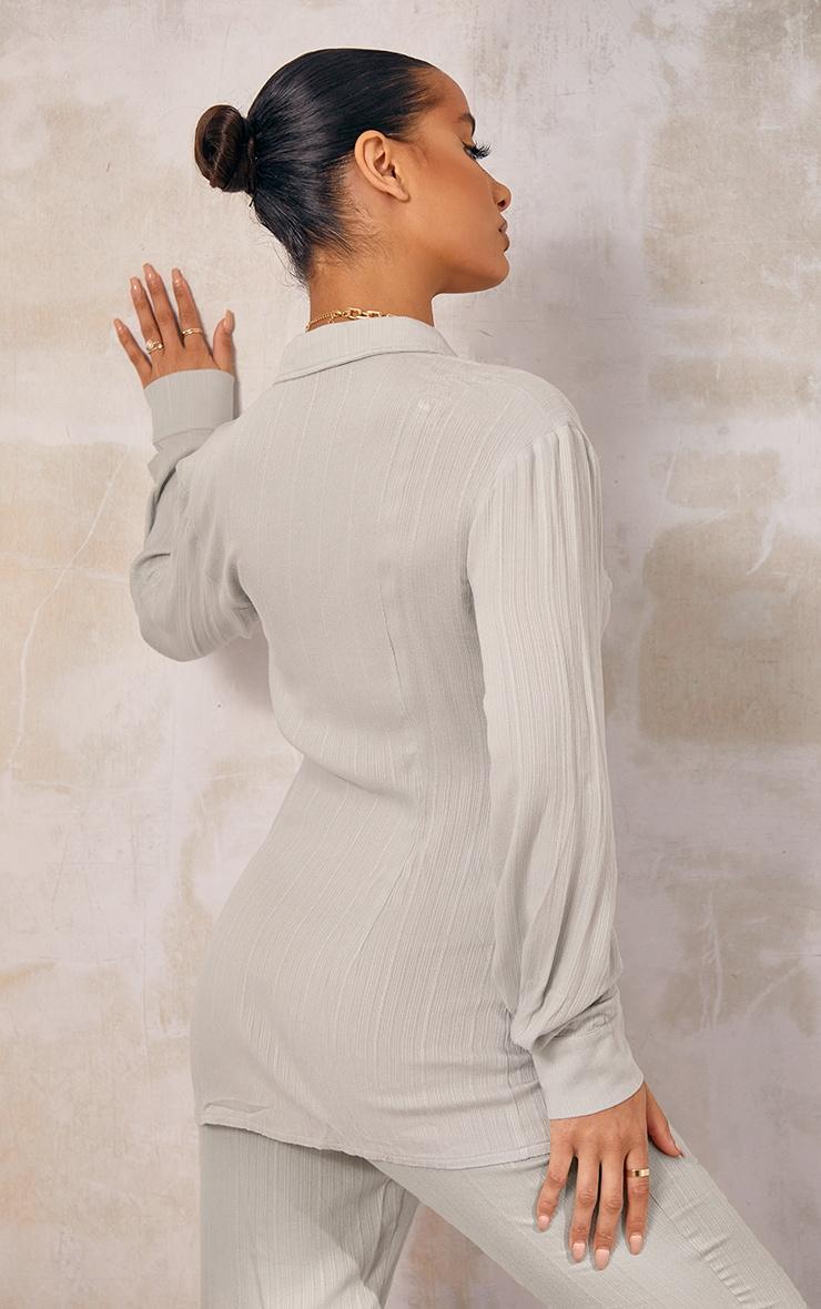 Sage Green Textured Stripe Panel Detail Shirt 2