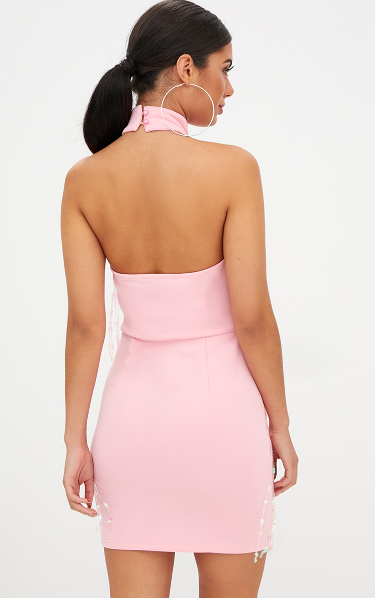 Pale Pink Tassel Sequin Bodycon Dress 2