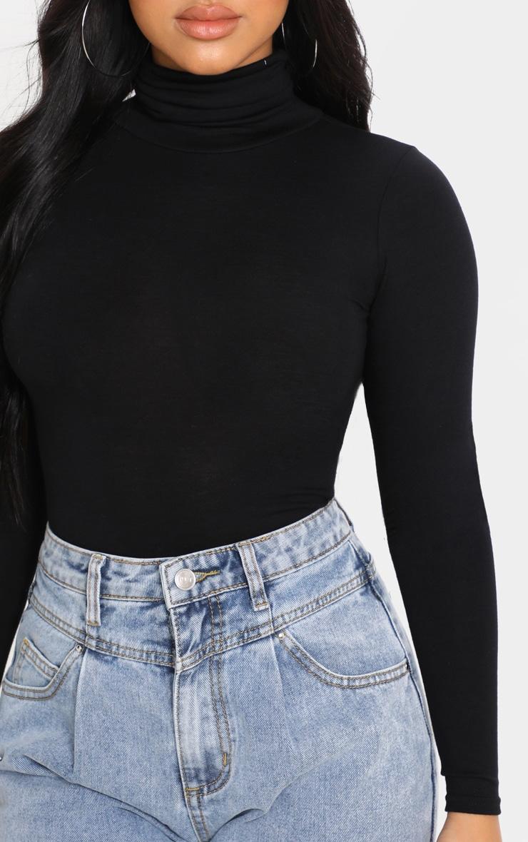 Petite - Body noir basique à col roulé et manches longues  6