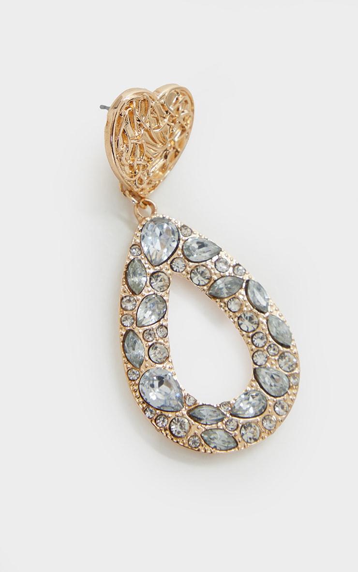 Gold Textured Heart Earrings 3