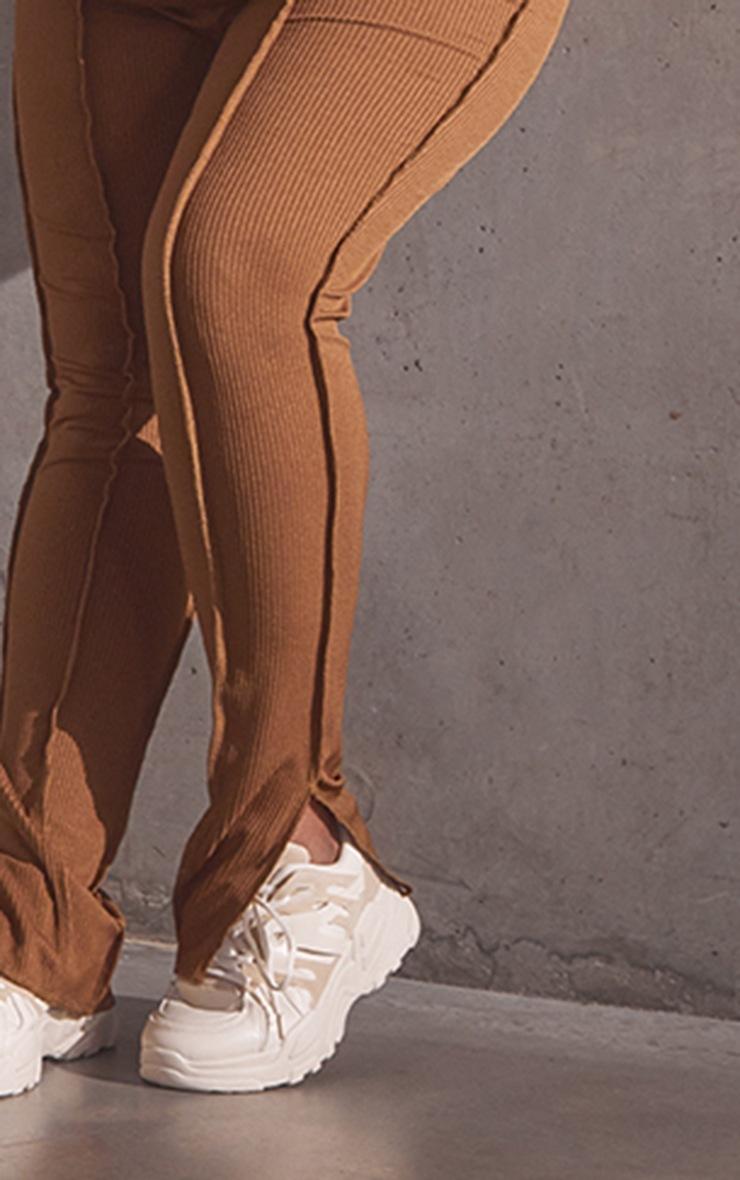 PLT Renew Plus - Legging chocolat à ourlets fendus et détail coutures 4