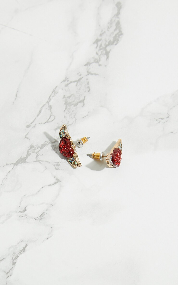 Red Diamante Heart Wing Stud Earrings 4