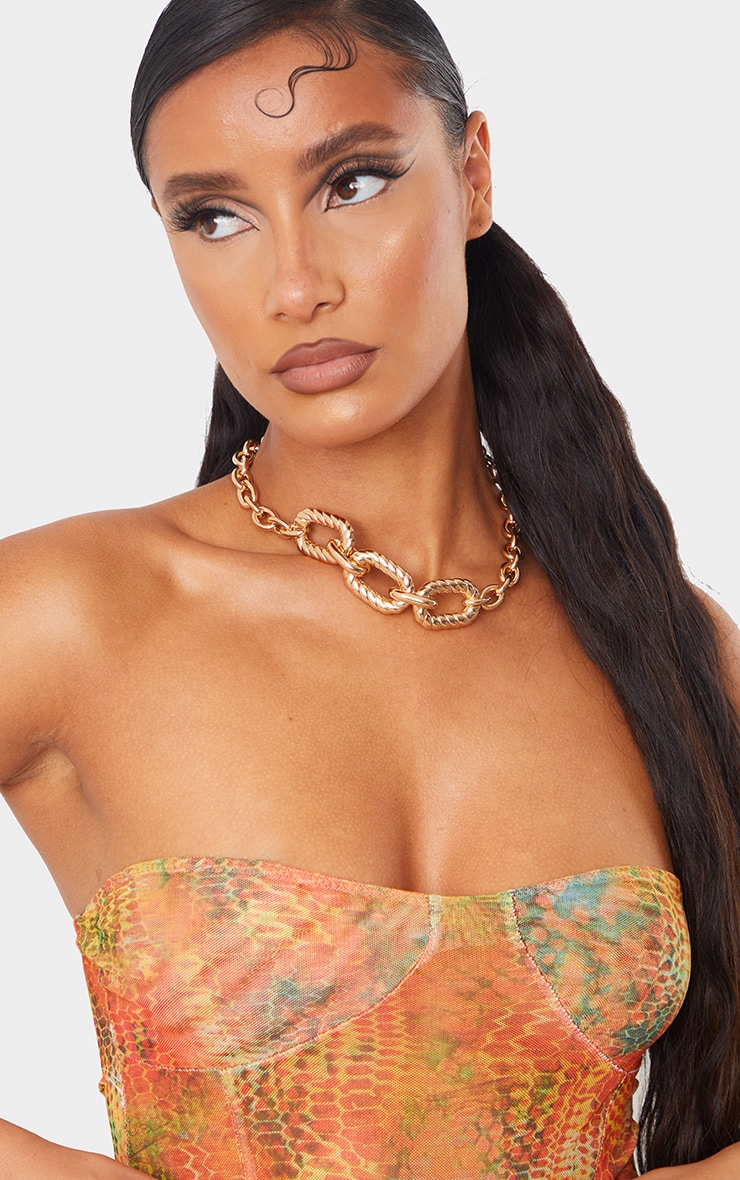 Gold Chunky Oversized Round Ribbed Chain Necklace 1