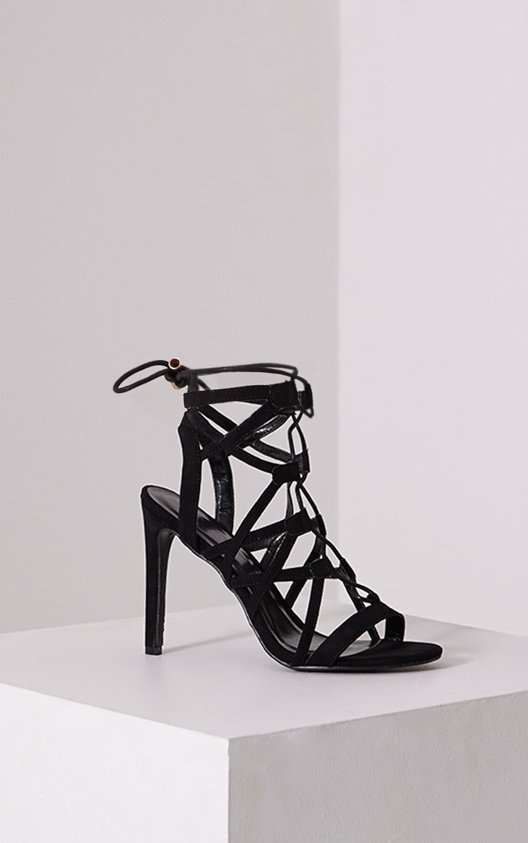 Nancy Black Cut Out Lace Up Heels 3