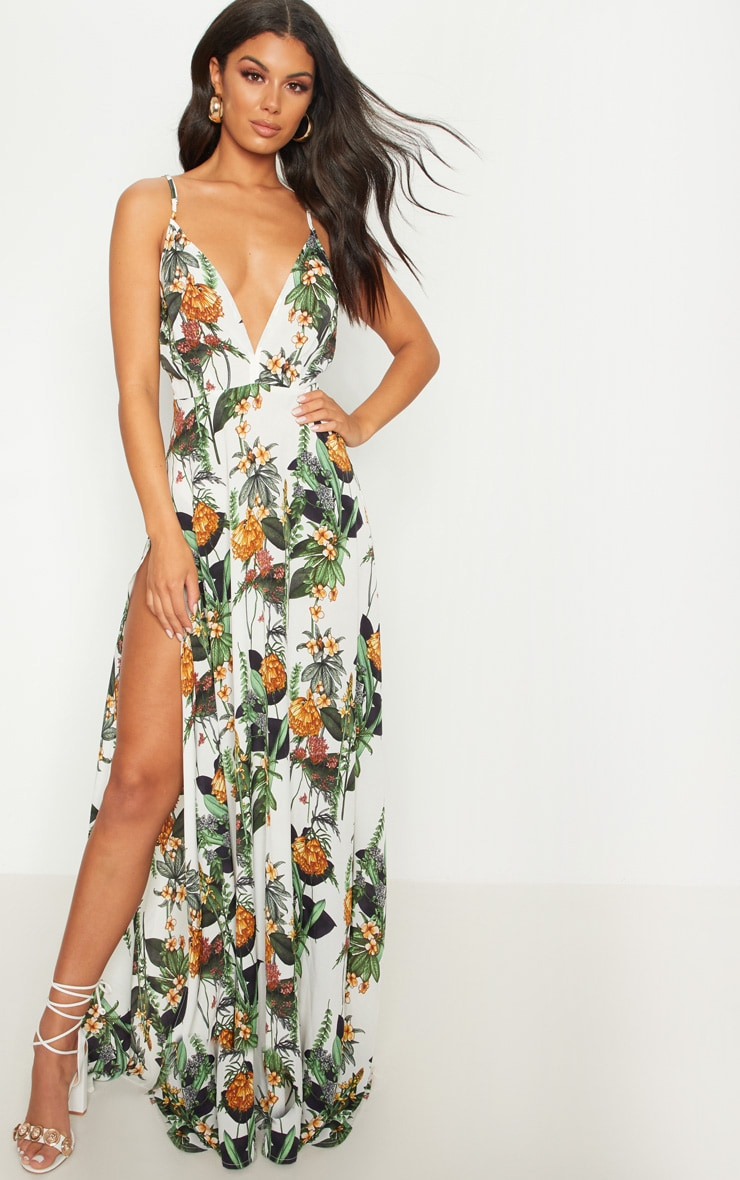 White Floral Print Extreme Split Strappy Back Maxi Dress 1