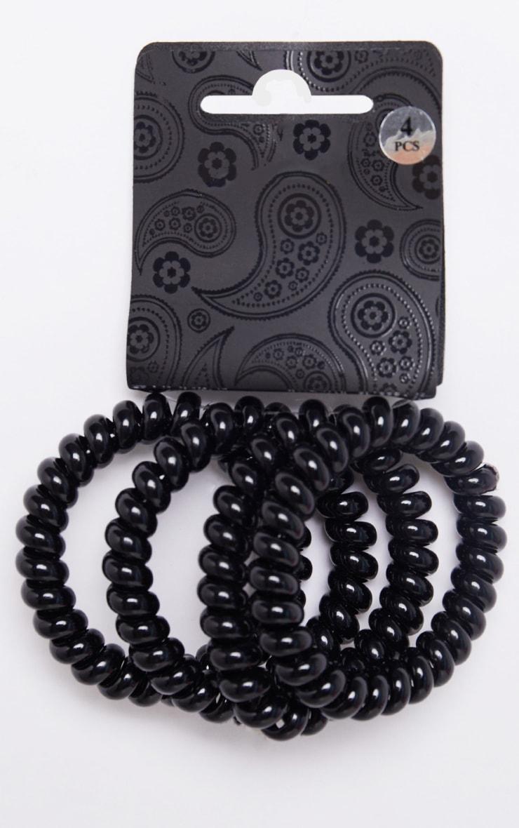 Black Spiral Hair Bobbles 4 Pack 2