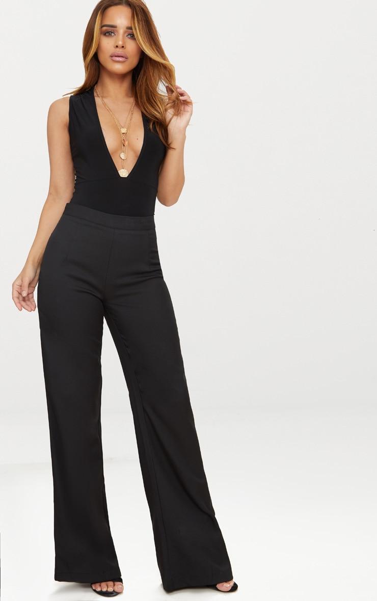 Petite Black Slinky Plunge Bodysuit 5