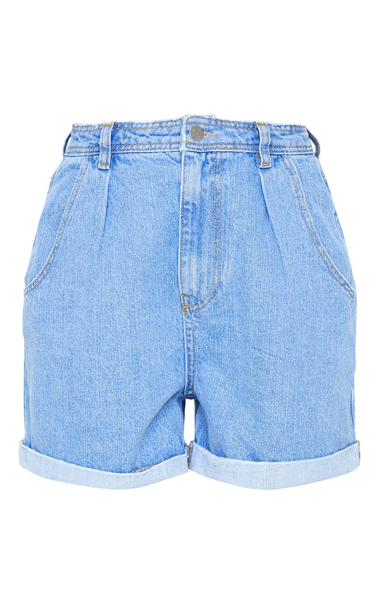 Blue Light Wash Balloon Denim Shorts 5