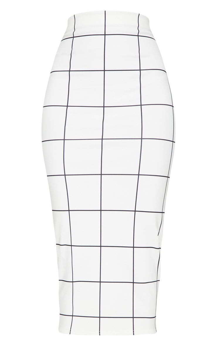 Monochrome Window Check Midi Skirt 3