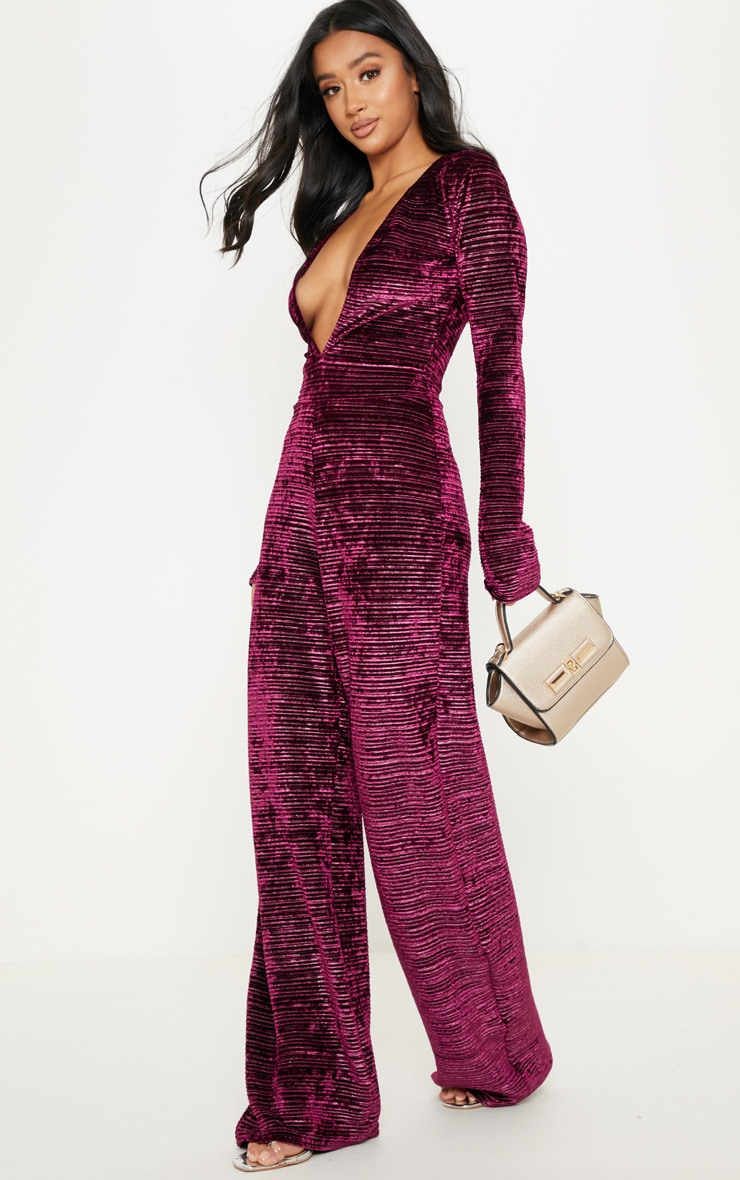 Petite Wine Ribbed Velvet Wide Leg Jumpsuit 4
