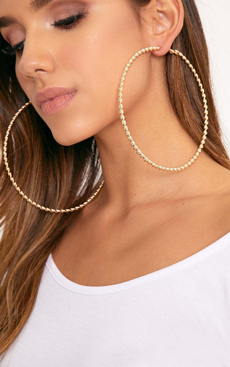 Matillda Gold Twisted Hoop Earrings 1