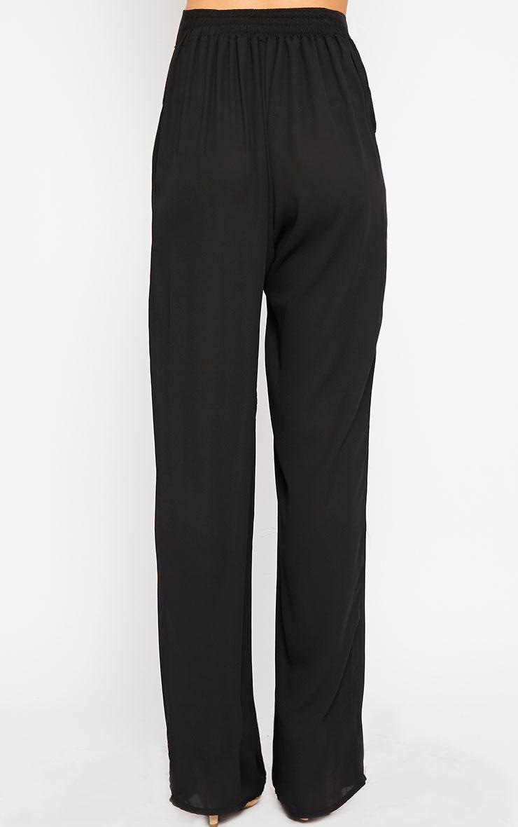 Theadora Black Chiffon Wide Leg Trousers 4