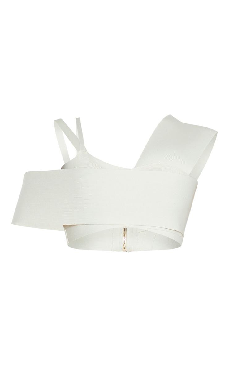 Crop top bandage crème asymétrique 3