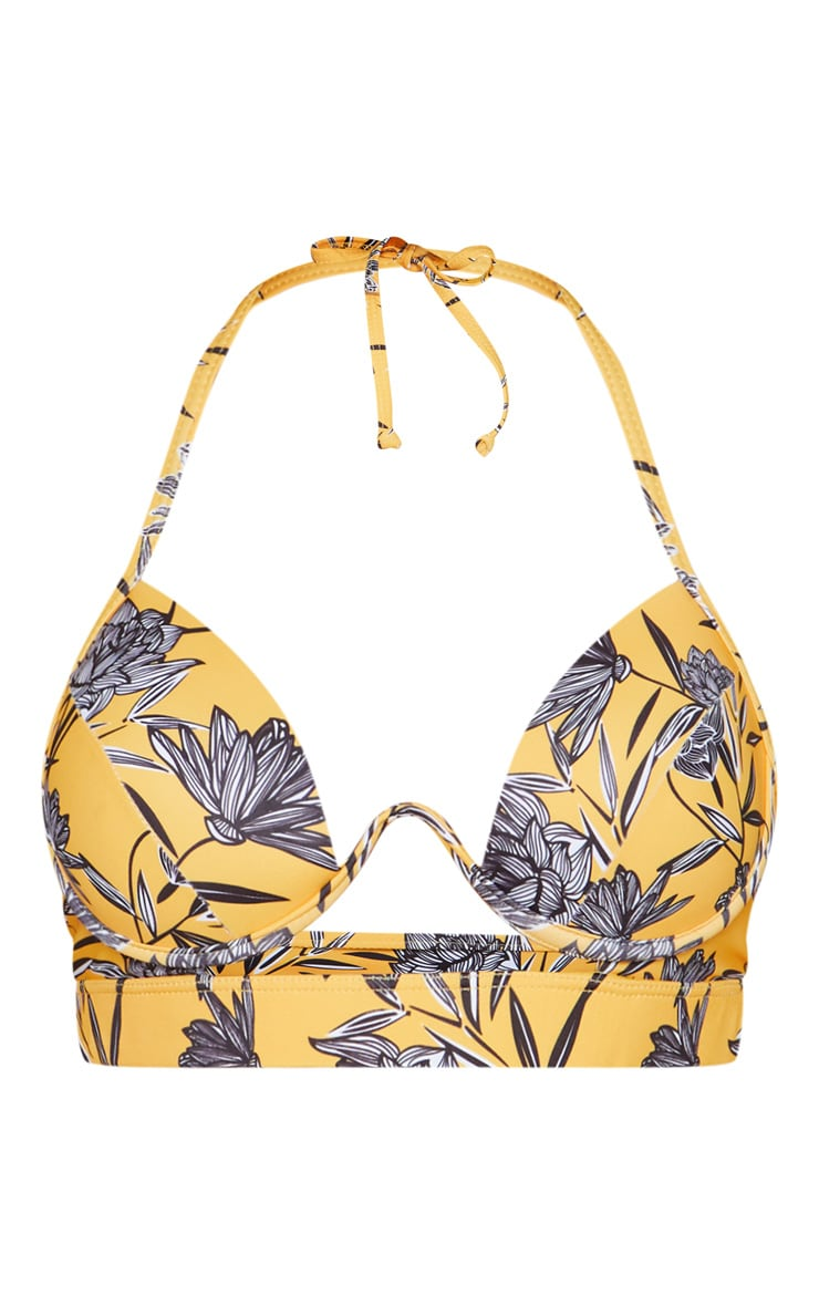 Yellow Floral Underwired Cut Out Cupped Bikini Top 6