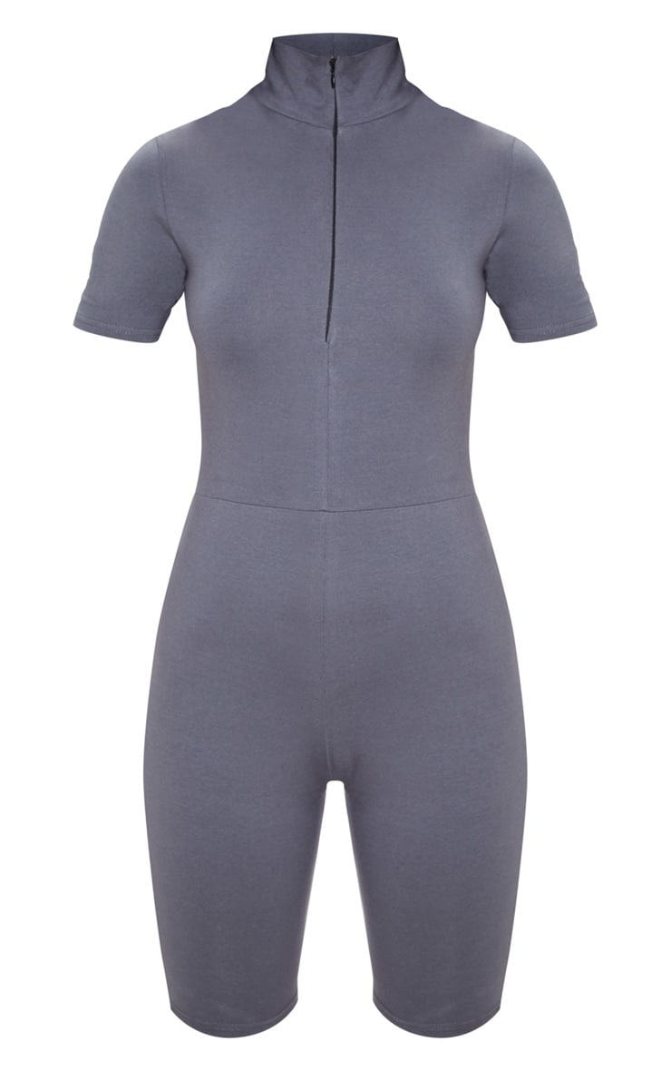 Charcoal Blue High Neck Cap Sleeve Unitard 3