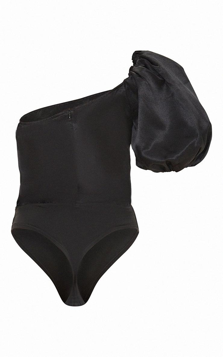 Black Satin One Shoulder Balloon Sleeve Bodysuit 5