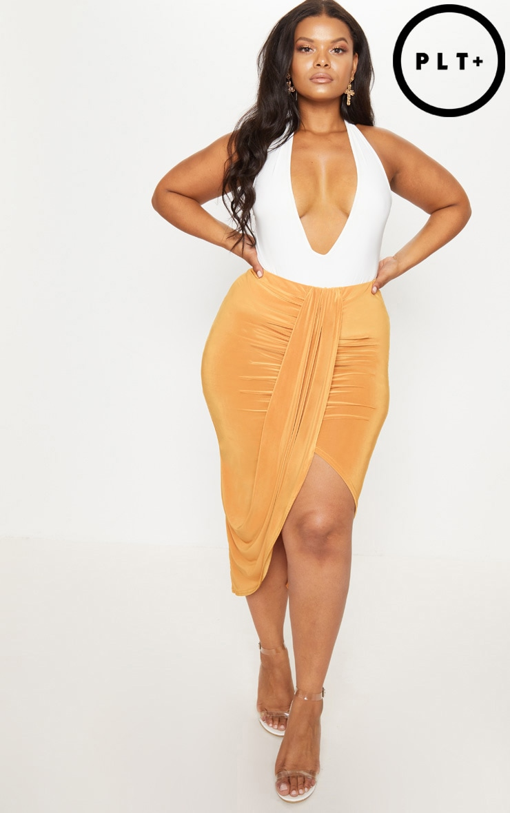 Plus Mustard Slinky Ruched Wrap Front Midi Skirt