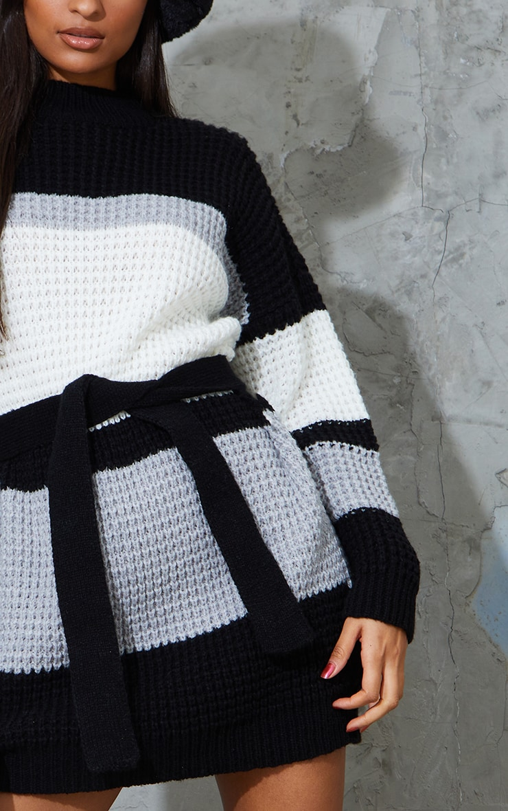 Monochrome Colour Block Waffle Knitted Jumper Dress 4
