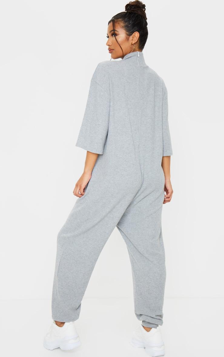 Grey Brushed Rib High Neck Oversized Jumpsuit 2