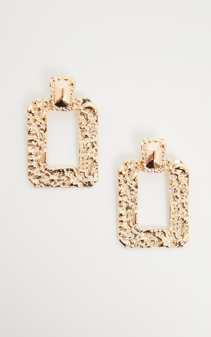 Gold Door Knocker Hammered Square Statement Drop Hoops 3