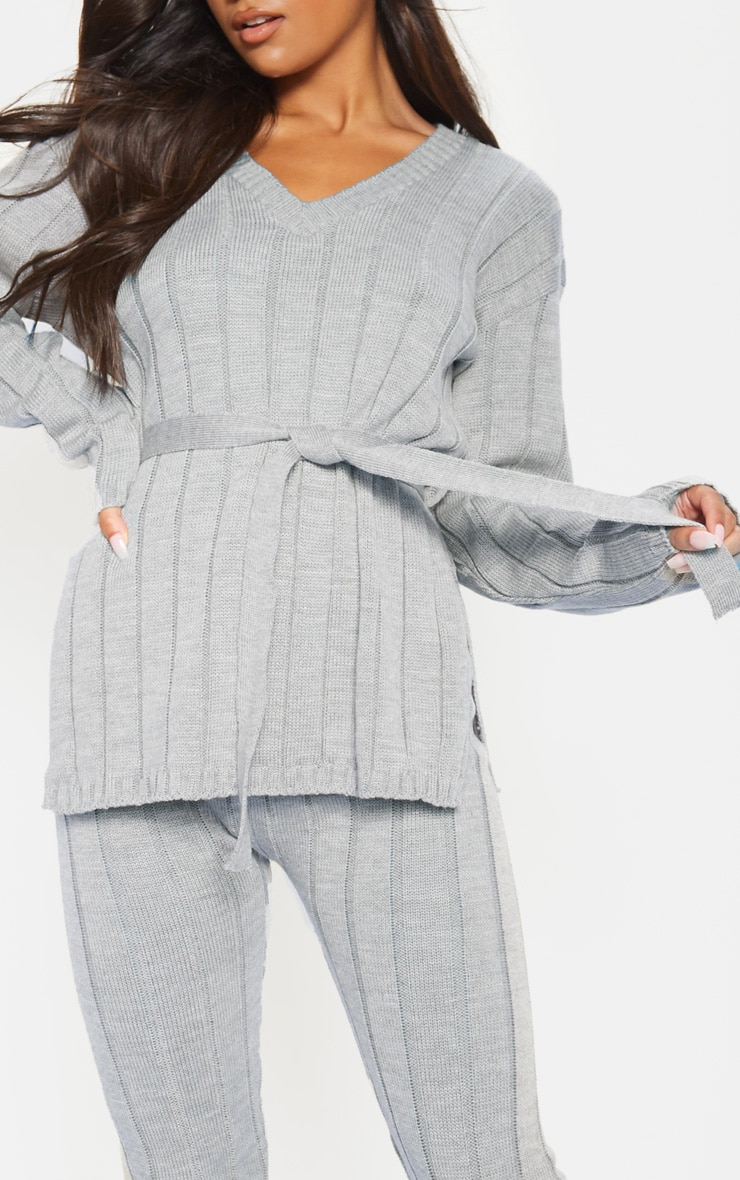 Grey Belted Longline Jumper And Legging Lounge Set 5