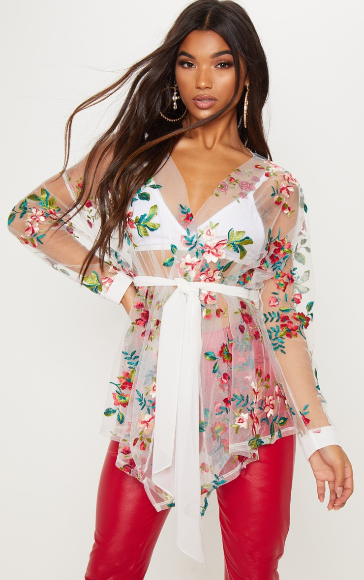 White Tie Waist Embroidered Sheer Shirt 1