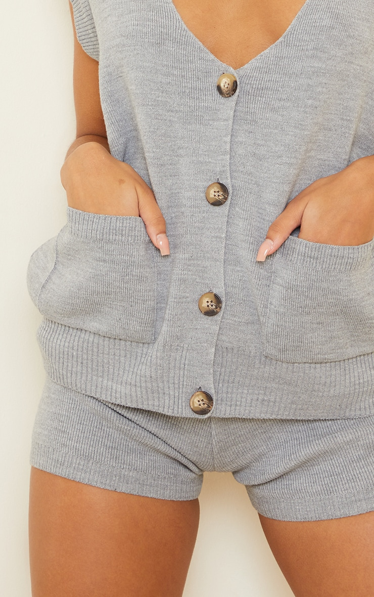 Grey Knitted Pocket Detail Button Down Vest 4