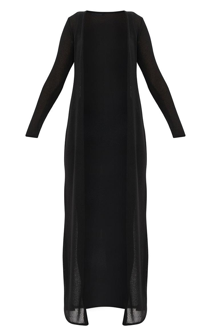 Black Lightweight Knit Longline Cardigan 3