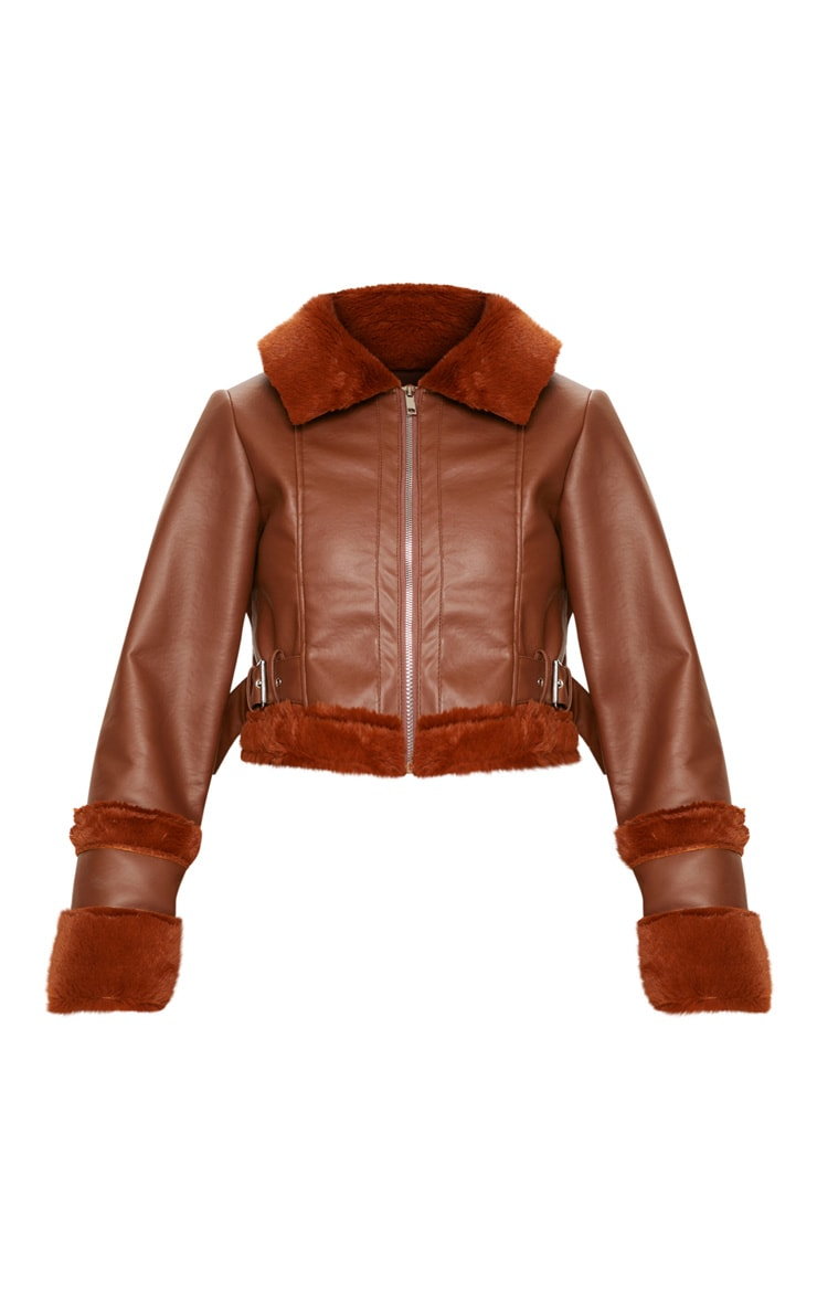 Tan  Faux Fur Trim Cropped Aviator  3