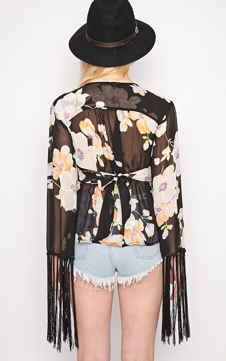 Primrose Black Floral Tassel Sheer Top 2