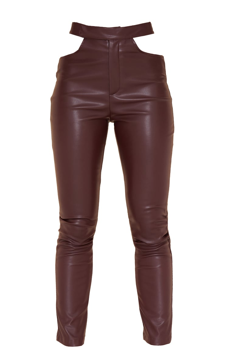 Dark Chocolate Faux Leather Cut Out Detail Skinny Trousers 5