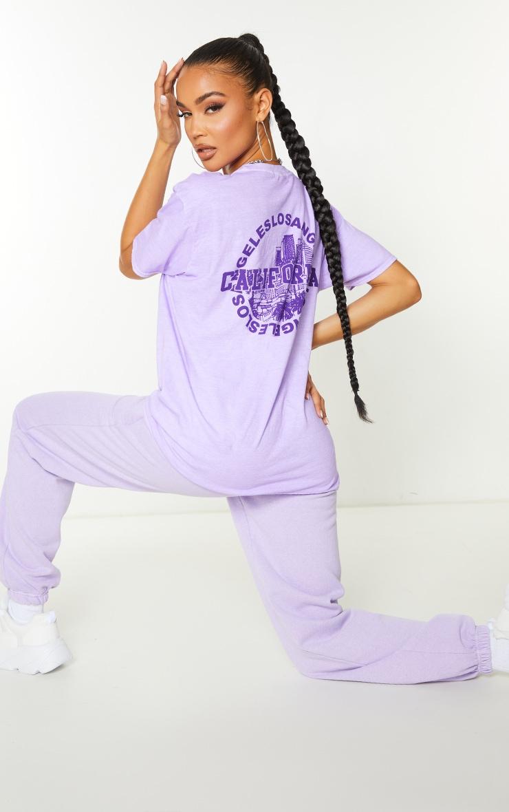 Lilac Los Angeles California Back Print Short Sleeve Washed T Shirt 3