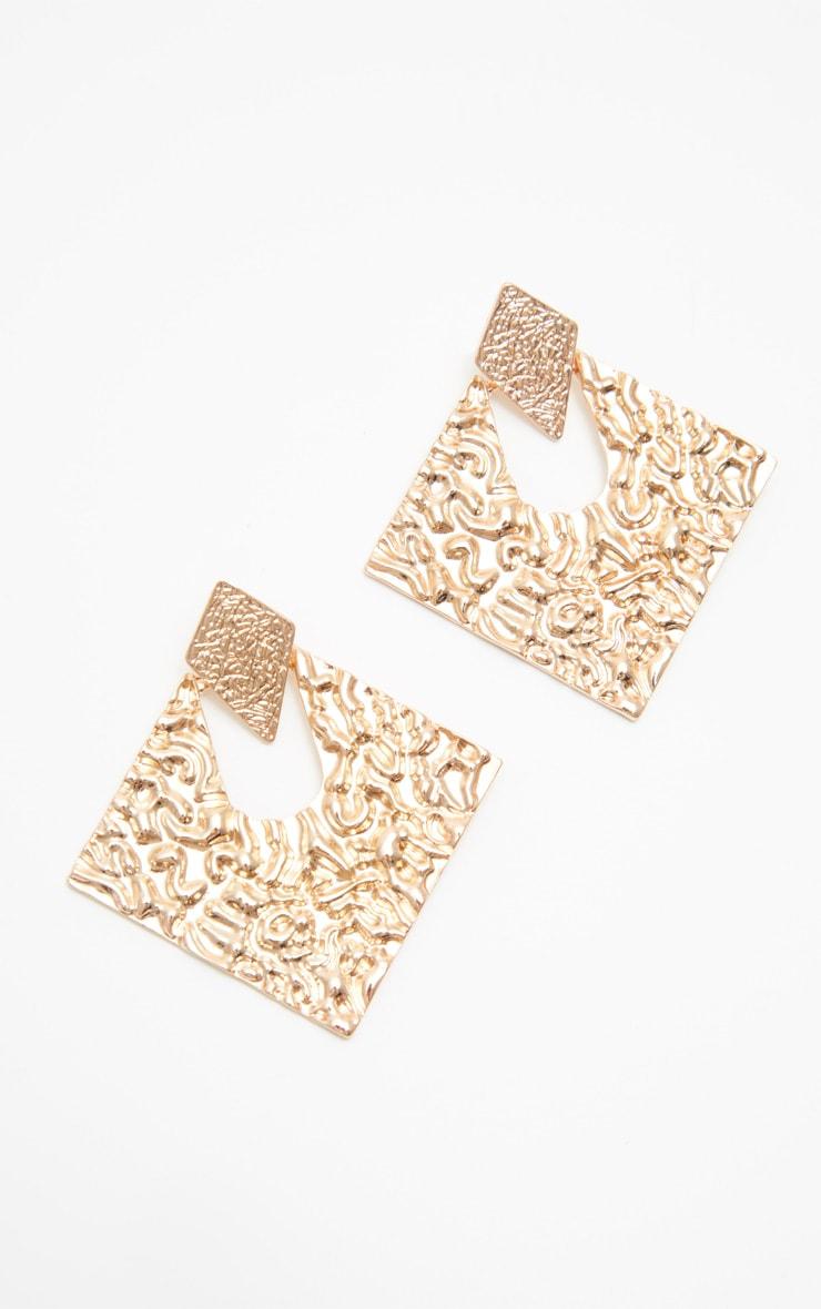 Gold Door Knocker Metal Textured Diamond Shape Studs 2