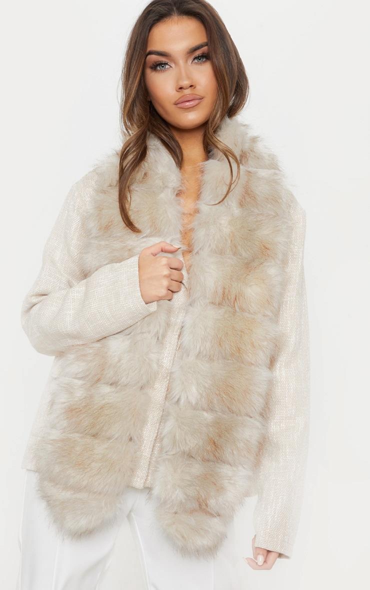 Grey Faux Fur Scarf 1