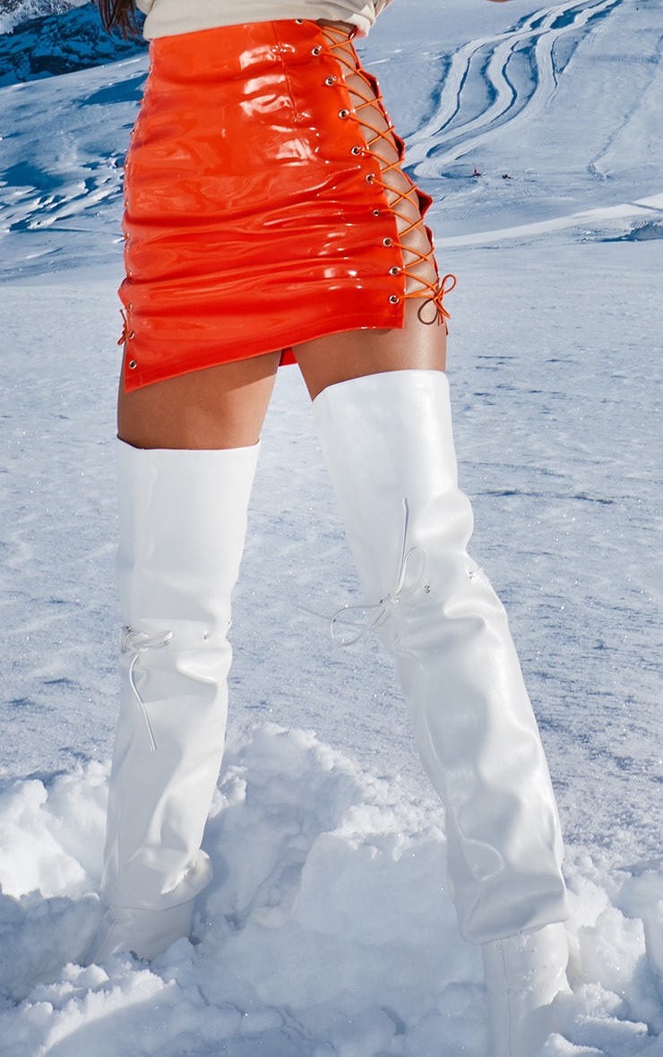 Neon Orange Vinyl Lace Up Side Mini Skirt 2