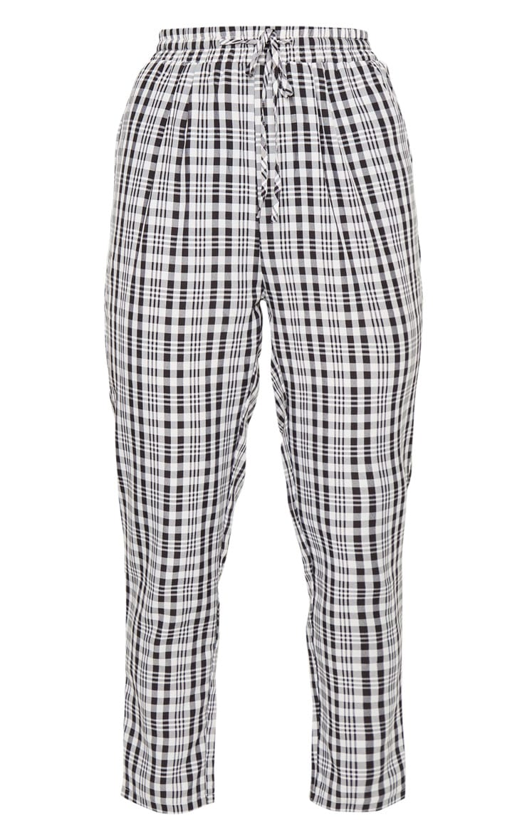 White Check Diya Casual Cigarette Trousers 5