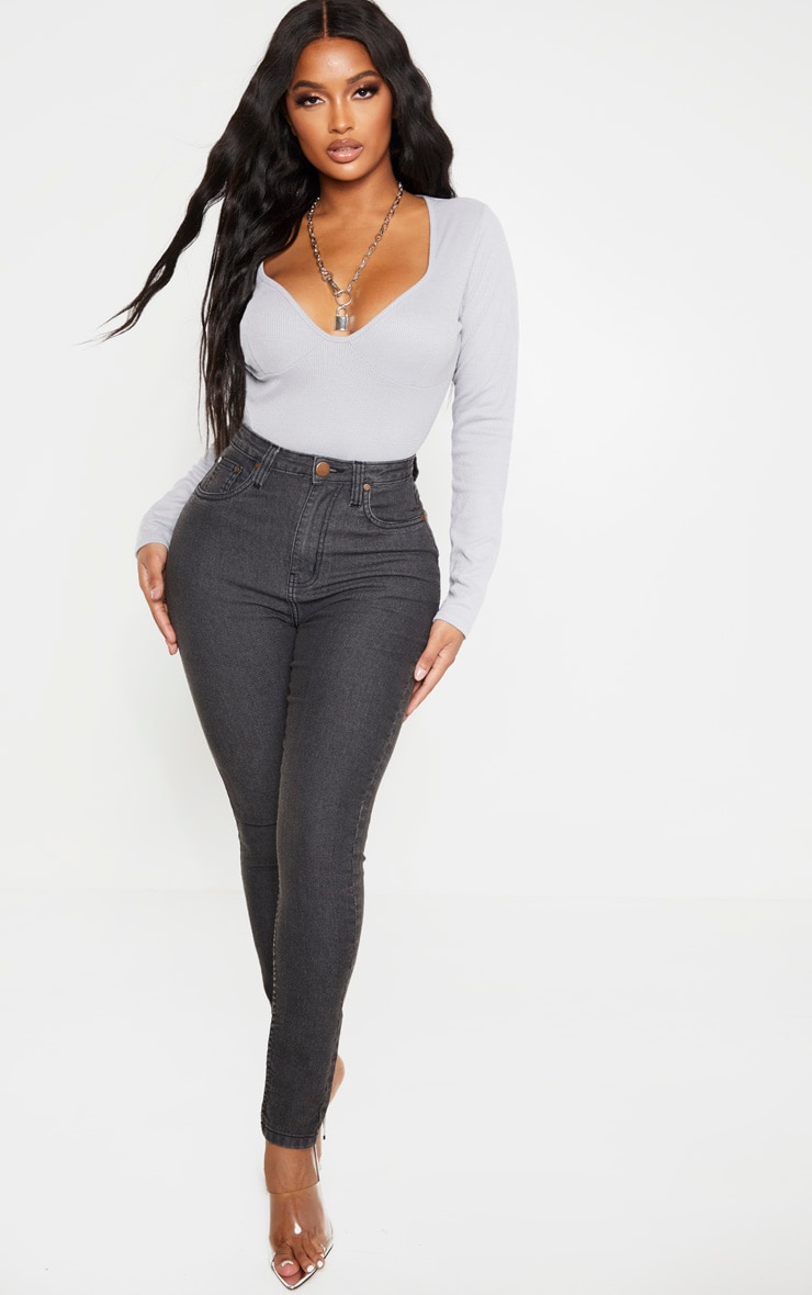 Shape Grey Ribbed Cup Detail Long Sleeve Bodysuit 3