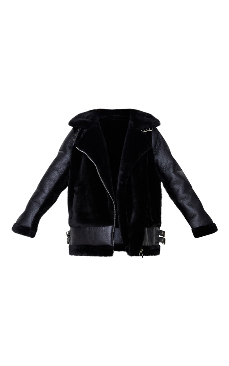 Black Oversized Faux Fur Panel Aviator 3