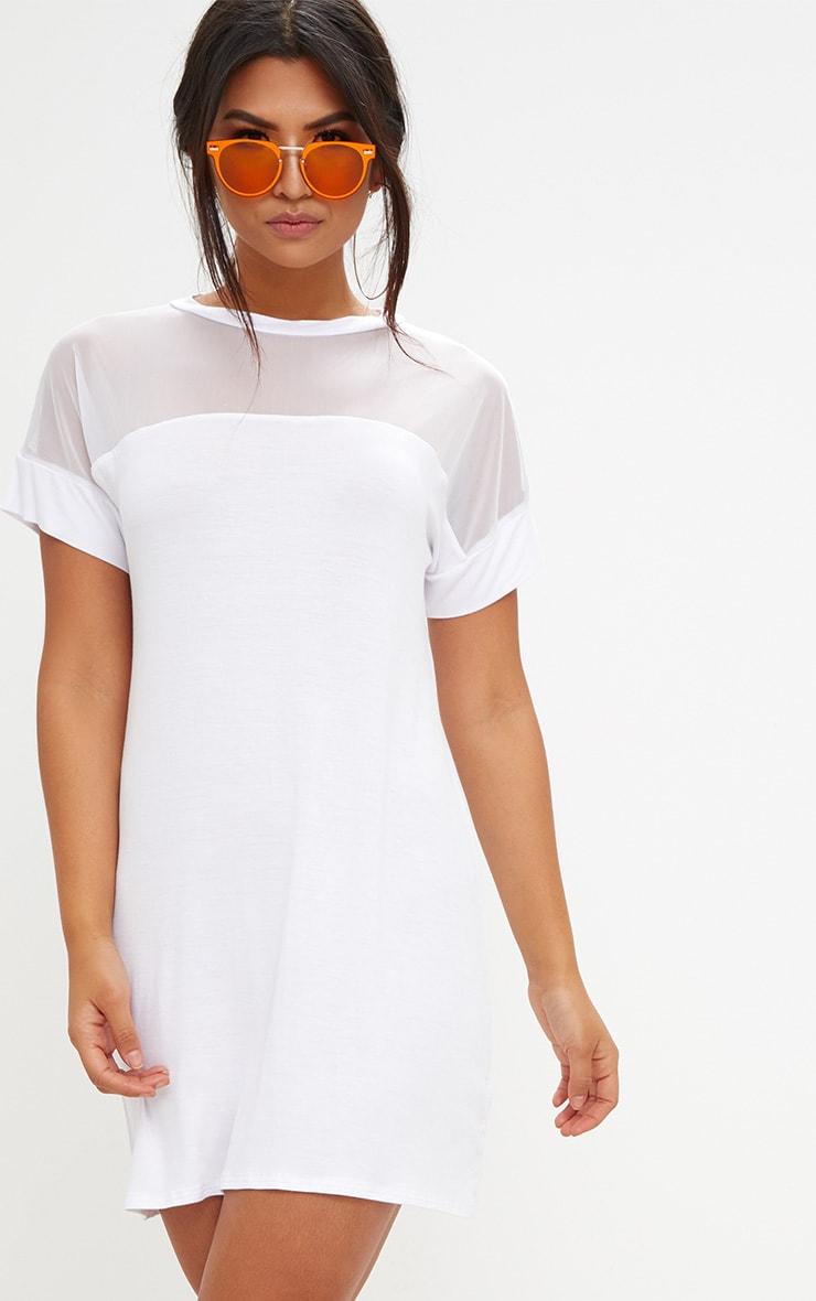 White Jersey & Mesh T Shirt Dress 4