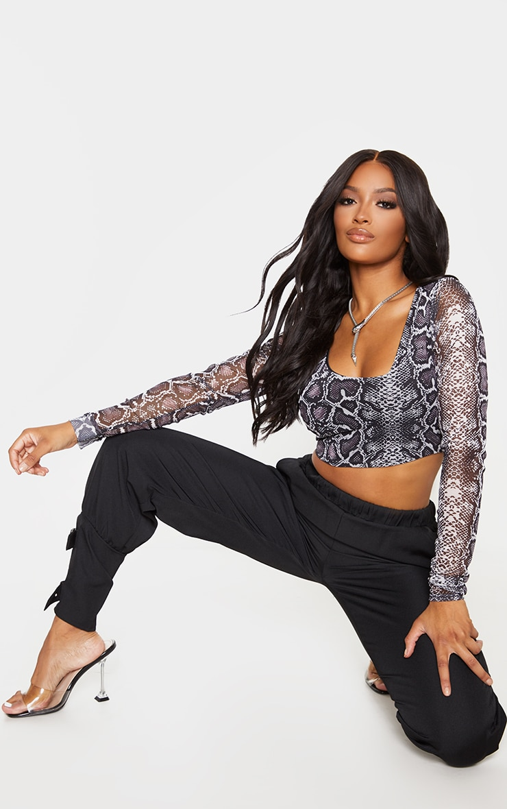 Shape Taupe Snake Print Mesh Long Sleeve Crop Top 4